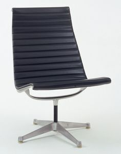 Charles Eames (American, 1907–1978). Lounge Chair. Herman Miller, Inc., Zeeland, MI. 1958. Polished die-cast aluminum, painted steel tube, heat-sealed naugahyde padded with vinyl foam, and nylon glides.