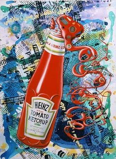 Ketchup by artist Kenny Scharf Oil, Acrylic, Silkscreen Ink & Objects On Linen 40 X 30 Inches Surrealism Painting, Pop Surrealism, Artist Painting, Pablo Picasso, Kenny Scharf, The Artist Movie, Neo Pop, Classical Realism, Ad Art
