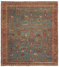 """BAKSHAISH, Northwest Persian (SOLD), 9ft 5in x 10ft 9in, Circa 1850. This early antique Bakshaish rug is quite unlike any other piece of its type we have seen to date in its mastery of abrash and the blending of archetypal and naturalistic imagery. Its """"Bakshaish Blue"""" field is incredibly evocative, with a tremendous variety of hues that gives the sense of looking through the water in a deep, crystal-clear pool."""