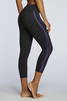 Bright electric stripes add a charge to these capris. |Salar Capri - Fabletics