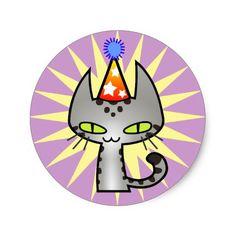 Geburtstags-Katze (kurzes Haar des silbernen Runder Aufkleber