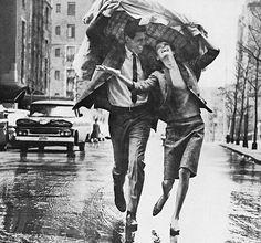 Sharing A Raincoat - 1963 by kathryn Rain Photography, Couple Photography, Street Photography, Kissing In The Rain, Dancing In The Rain, Vintage Love, Vintage Photos, Couple In Rain, Old Fashioned Love