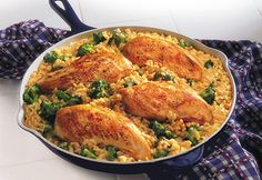 15 Minute Chicken & Rice Dinner 1 tablespoon vegetable oil 1 pounds skinless, boneless chicken breast halves 1 can (. Campbells Recipes, Rice Recipes For Dinner, Cooking Recipes, Healthy Recipes, Cooking Time, Easy Recipes, Kitchen Recipes, Easy Cooking, Cream Of Chicken Soup