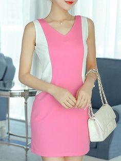 3 Color   Assorted Colors V Neck  Bodycon-dress Bodycon Dresses from fashionmia.com