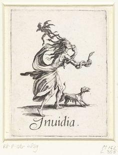 Jacques Callot   Afgunst, Jacques Callot, 1618 - 1625   Een afzichtelijke oude vrouw met haar in de vorm van slangen en een slang in de hand eet een hart op. Naast haar staat een hond, boven haar vliegt een duiveltje. Onder de voorstelling de Latijnse term voor de zonde die de vrouw verbeeldt. Deze prent is onderdeel van een serie van zeven prenten waarop de hoofdzonden als allegorische figuren zijn weergegeven.