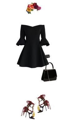 """""""Blacky"""" by krisz-kn ❤ liked on Polyvore featuring Kenneth Jay Lane, Chicwish and Dsquared2"""