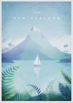 New Zealand Vintage Travel Poster Vintage style travel poster of New Zealand. Illustration of a fiord lake in New Zealand. Text reads Visit New Zealand. Original hand drawn and digitally rendered illustration by Henry Rivers for Travel Poster Co. Retro Poster, Poster S, Vintage Travel Posters, Vintage Postcards, Poster Prints, New Zealand Art, New Zealand Travel, Posters Decor, Illustrator