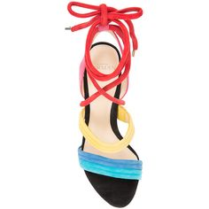 Alexandre Birman Multicolor Lace-Up Sandal (€635) ❤ liked on Polyvore featuring shoes, sandals, multi colored sandals, multi color sandals, alexandre birman shoes, multi colored shoes and multicolor shoes