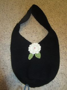 Large Black Crochet Handbag With Big White Flower And Green Leaves by VioletsKnitwear on Etsy