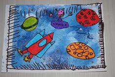 Bricolage avec mon fils de 5 ans. Fond à la Gelli plate, dessins coloriés au marqueur, découpés et collés dessus.