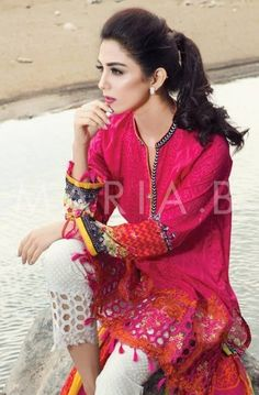 Maya Ali for Maria B Eid Lawn Collection 2016 Pakistan Pakistani Fashion Casual, Pakistani Dresses Casual, Pakistani Bridal Wear, Pakistani Dress Design, Indian Dresses, Indian Outfits, Indian Fashion, Pakistani Clothing, Pakistani Couture