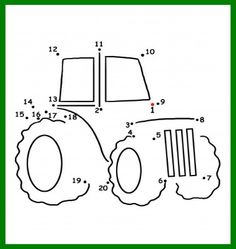 Dot to Dot Tractor Coloring Page for Farmer's Day! Here's