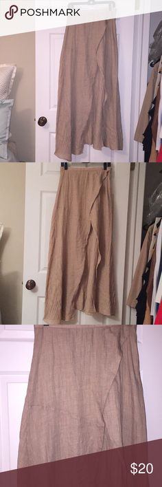 Cascading Linen Maxi Skirt w/ Slit Cascading linen maxi skirt with split Mini skirt underneath Zipper closure  Brand new with tags Size large but can fit medium as well in my opinion Skirts Maxi