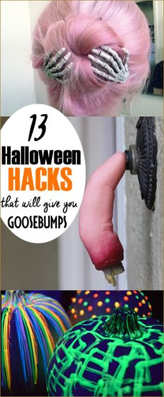13 Halloween Hacks. Silly and spooky ideas to spook out your house and porch for Halloween. Glowing pumpkins, crazy hair and scary front porch decor.