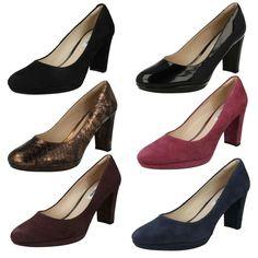 Ladies Clarks High Heel Smart Slip On Shoes Style -  Kendra Sienna