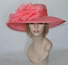 New Church Kentucky Derby Sinamay Pink Huge Floppy Bow Wide Brim Dress Hat | eBay