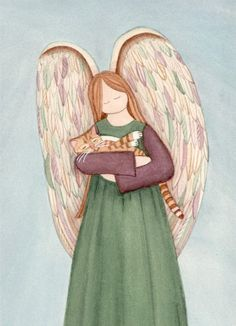 Tabby cat held by angel / Lynch signed print by watercolorqueen, $12.99