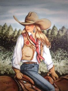 """cowgirl art """"letting go"""" ~ by doreman burns Cowgirl And Horse, Cowboy Art, Westerns, Arte Equina, Cow Girl, Western Girl, Texas Western, Southwestern Art, Vintage Cowgirl"""