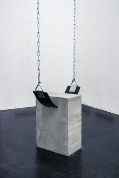 """""""Sans titre"""" 2014 by Fabian Buergy. Rubber, cement, iron chains"""