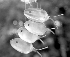 Fish made from spoons, Original spoon fish wind chime, Nautical nursery mobile, Silverware wind chime, Metal windchimes, Spring Yard Stake  These delightful wind chimes are up cycled from antique silver plated utensils dating back as early as 1786. Each set is unique and has a wonderful patina that only time could bring. Sit back, relax and listen to the gentle sounds as they whisper stories of centuries past. Each set is unique,yet just as charming as the ones pictures above.   Measures…