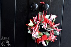 Scrappy Ribbon Wreath Ornament {tutorial} via #LittleBirdieSecrets || Neat project for student gifts this year!!
