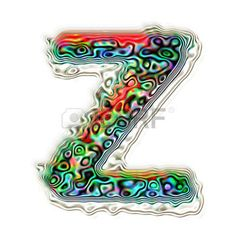 letter z: Alphabet Z colorful abstract texture illustration, isolated on white background