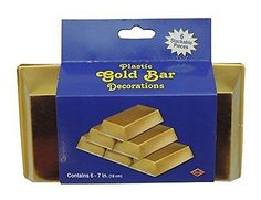 6-Pack-Thin-Plastic-Gold-Bar-Party-Novely-Old-West-Money-Decorations