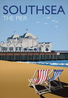 Southsea - The Pier by Chris Gibson. Railway poster style print of the Portsmouth area. Posters Uk, Railway Posters, Wales, Jb Photography, Portsmouth England, English Heritage, The Old Days, Vintage Travel Posters, Beautiful Places To Visit
