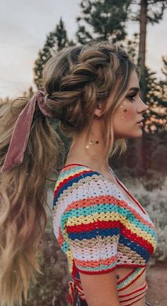 61 Stylish and Cute Crochet Top Pattern Ideas for Summer! Part 12 - 61 Stylish and Cute Crochet Top Pattern Ideas for Summer! Part crochet top pattern; Braided Hairstyles For School, Pretty Hairstyles, Easy Hairstyles, Fashion Hairstyles, Summer Hairstyles, Bohemian Hairstyles, Boho Hairstyles For Long Hair, Elegant Hairstyles, Hairstyles Videos