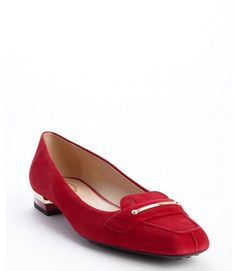 $525, Tod's Red Suede Square Toe Loafers. Sold by Bluefly. Click for more info: https://lookastic.com/women/shop_items/59985/redirect