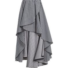 Caroline Constas Adelle gathered cotton-gingham skirt ($605) ❤ liked on Polyvore featuring skirts, black white, scalloped skirt, black and white skirts, caroline constas, black and white gingham skirt and white and black skirt