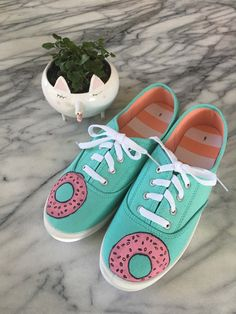 279b45b43e Custom canvas donut shoes by TheCardinalsWarble on Etsy Donut Shoes