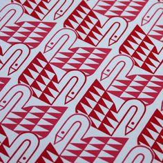 SWANS silkscreen print in bright red & hot pink, mengsel design, via Etsy.