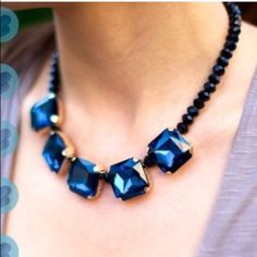 🆕Chunky rhinestone drop necklace - BLUE Super fun & light. Gun metal chain with adjustable lobster clasp. Available in 3 colors: clear, blue & green. ❌NO TRADE❌ Jewelry Necklaces