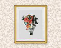BOGO FREE Air Balloon Cross Stitch Pattern Floral Hot Air