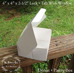 "BULK • 100 Each -  4"" x 4"" x 2-1/2"" White/White  Lock & Tab Box With Window…"