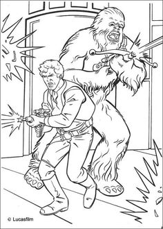 Han Solo and Chewbacca coloring page. More Star Wars content on hellokids.com