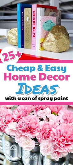 Cheap Home Decorating Ideas - with a simple can of spray paint.  Decorating on a budget, decorating hacks, decorating on a dime, DIY home decor on a budget, easy home decor, budget apartment decorating and low cost home decor