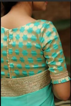 Royal Look With Brocade Blouse Design – The Handmade Crafts - blouse designs Kurta Designs, Brocade Blouse Designs, Simple Blouse Designs, Stylish Blouse Design, Blouse Neck Designs, Design Of Blouse, Latest Saree Blouse Designs, Indian Blouse Designs, Designer Saree Blouses