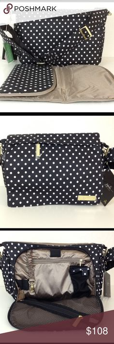 Duchess Better Be Ju-Ju-Be messenger diaper bag New with tag. Adorable polka dot print! Carry your baby needs in a less bulky bag that still packs a ton! Wear it messenger or crossbody style. Comes with changing pad. Mommy pocket under the flap. Beautiful lining color. Smooth fabric easy to wipe off dirt and machine washable. Jujube JJB Ju ju be ju-ju-be Bags Baby Bags