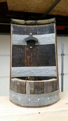 Wine Barrel Project Bottle Opener Whiskey Barrel Decor, Whiskey Barrels, Bourbon Barrel, Diy Bottle Opener, Wine Barrel Crafts, Handmade Wood Furniture, Barrel Projects, Wine Barrel Furniture, Wine Craft
