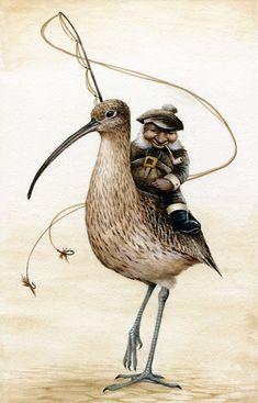 Curlew Fishing, by Markelli (Marc Potts, b. 1963) on DeviantArt