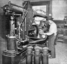1897 - Pneumatic tubes at the NY Produce Exchange Post Office. The 25lb/11.34kg steel canisters transported the mail other items and even live animals. Each canister could hold 600 letters and moved at 35 miles per hour through 27 miles of tubes connecting 23 post offices. [1028 982]