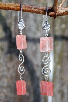 Cherry Quartz & sterling silver earrings. Handmade Cherry Quartz Earrings with Sterling Silver. Sterling silver teardrop filigree earrings by KarmaKittyJewelry on Etsy