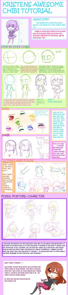 awesome_chibi_tutorial_by_kristen12, How to draw Chibi People, chibi drawing tutorial, reference, pose, Japanese, cute, kawaii, adorable, Chibis , girl, awesome