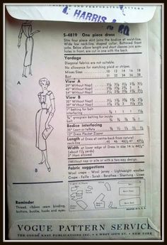 Vogue S-4819 Misses' Dress Size 16 Uncut (back of envelope)