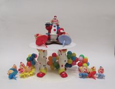 Vintage Wilton Clown Cake Topper Circus Ballons 2 by retrogal415