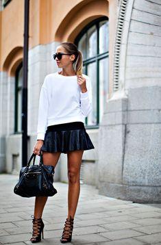 Kenza's Fashion Street style Black Skirt And Lace Up heels from Zara Black Balenciaga Bag
