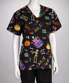 Take a look at this Black 'Trick or Treat' Scrub Top - Women & Plus by Women's Scrubs Collection on #zulily today!