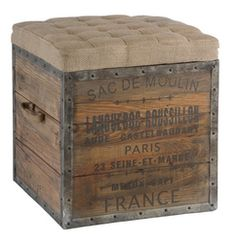 Wooden Cube, French Crate Ottoman..diy..I've seen these exact cushions at cost plus world market on sale for $17!
